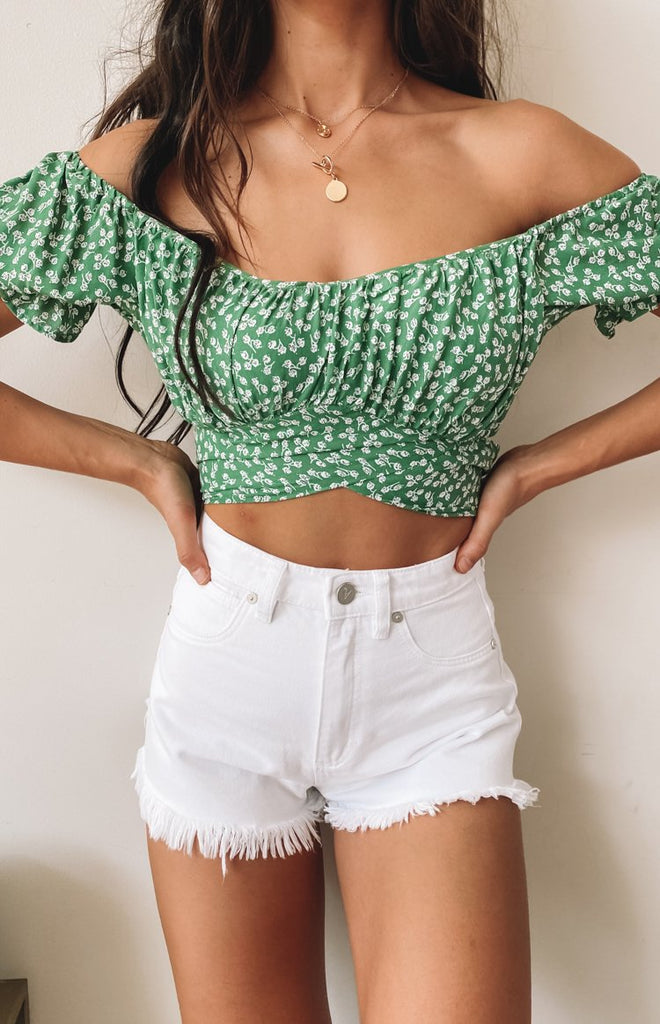 Heritage Wrap Top Green Floral 2