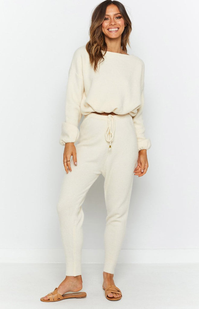 Home Girl Knit Track Pants Cream 4