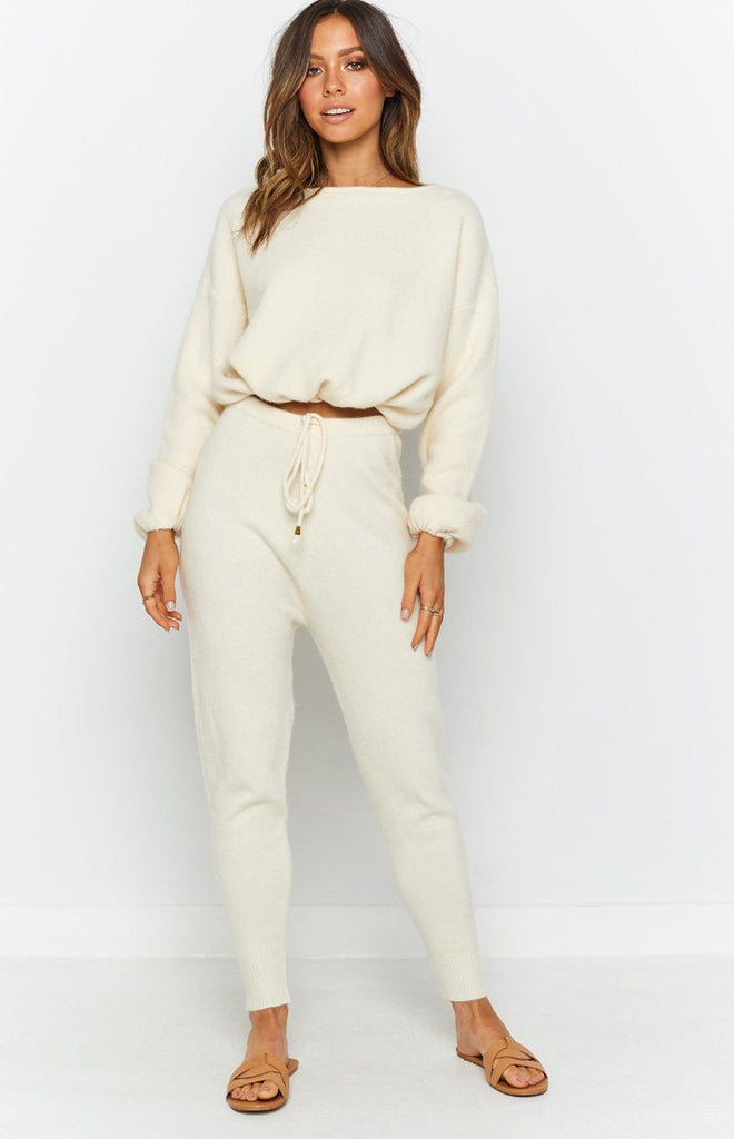 Home Girl Knit Track Pants Cream 5