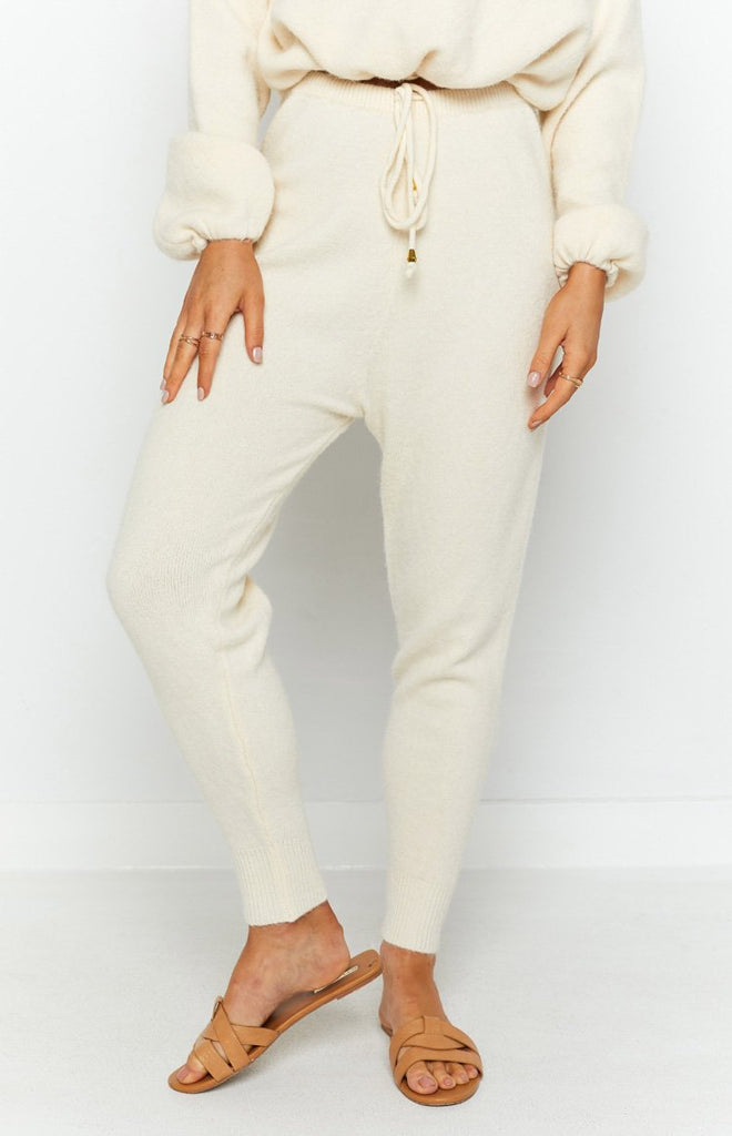 Home Girl Knit Track Pants Cream 6