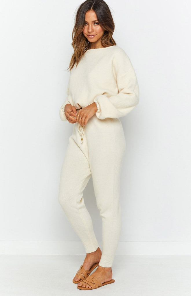 Home Girl Knit Track Pants Cream 7