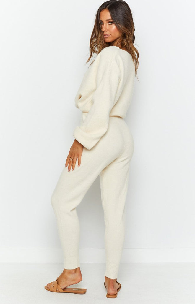 Home Girl Knit Track Pants Cream 8