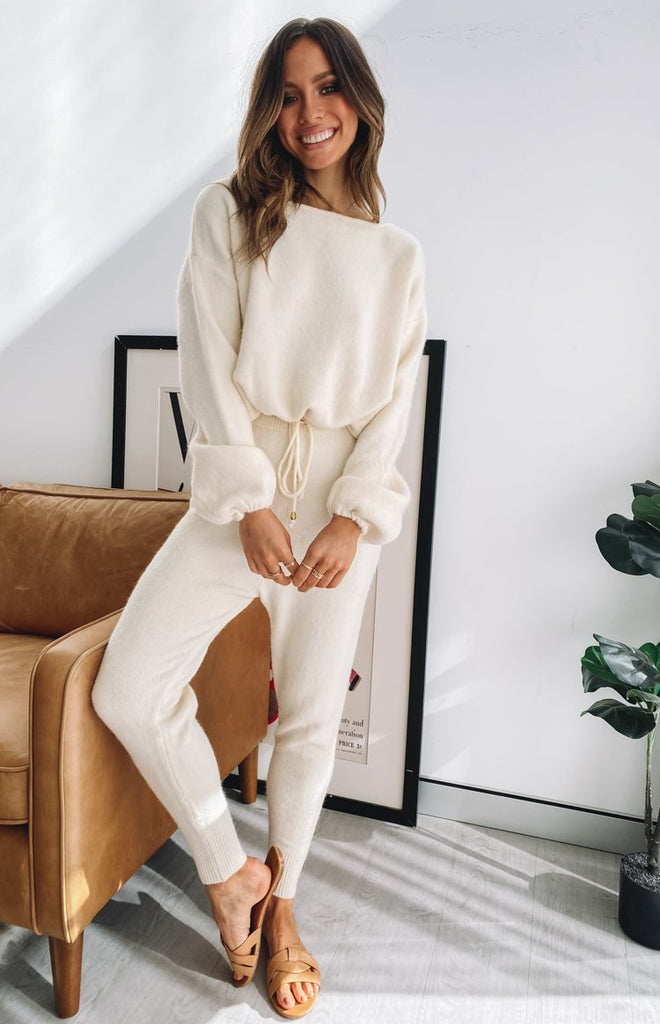 Home Girl Knit Track Pants Cream 3