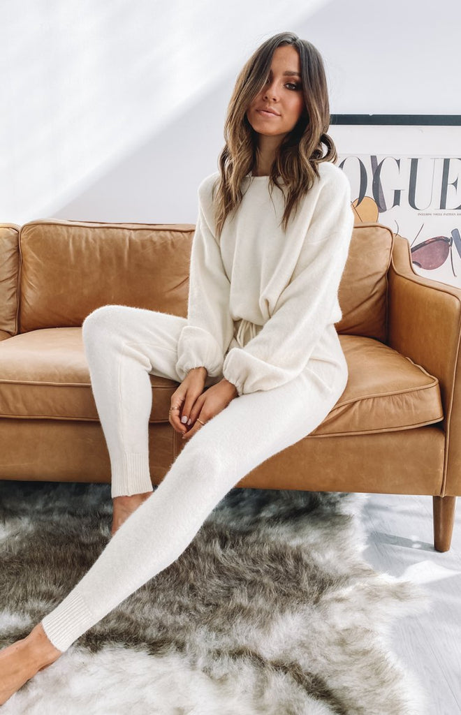 Home Girl Knit Track Pants Cream 10