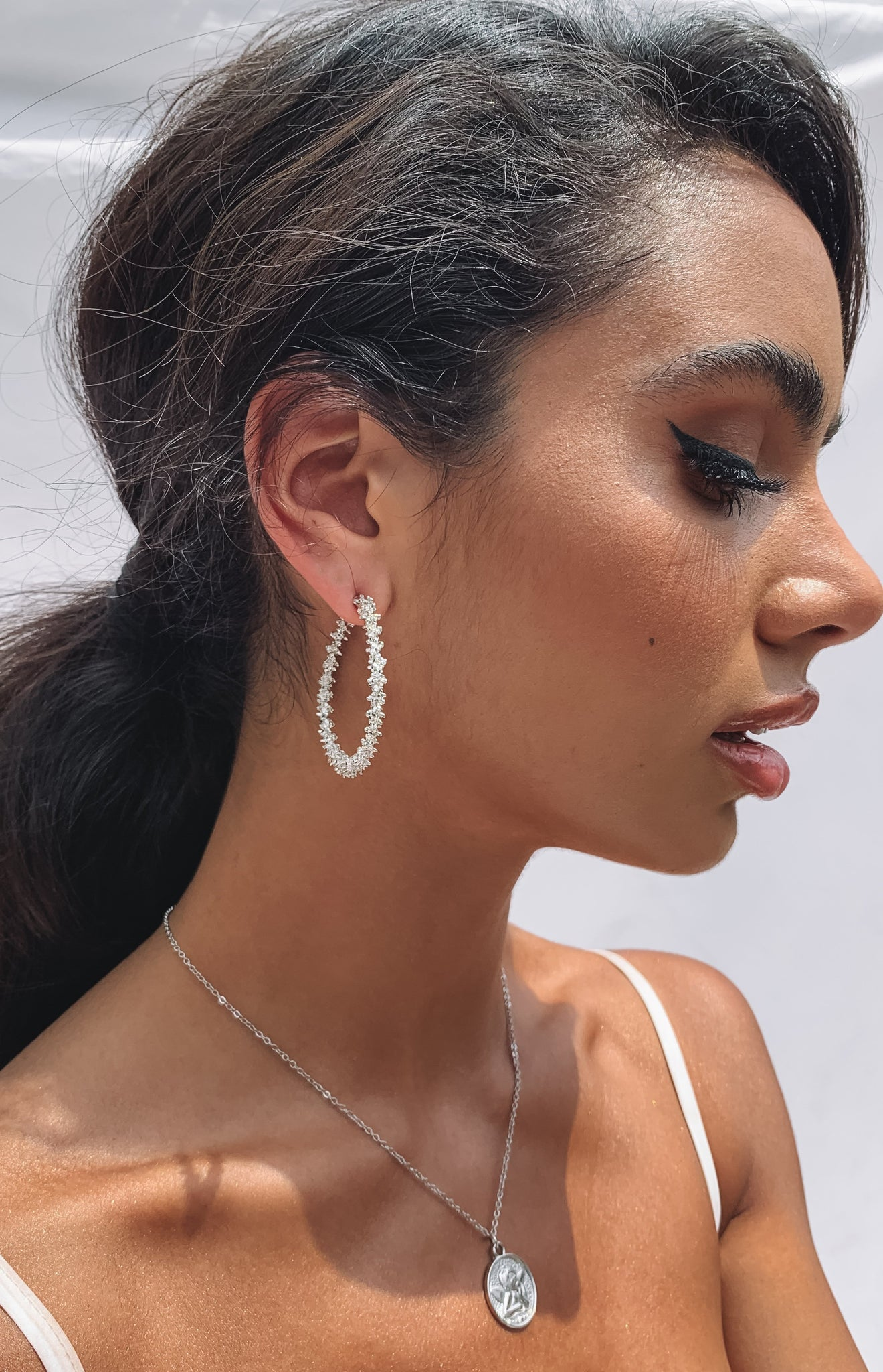 Eclat Falsetto Hoop Earrings Silver