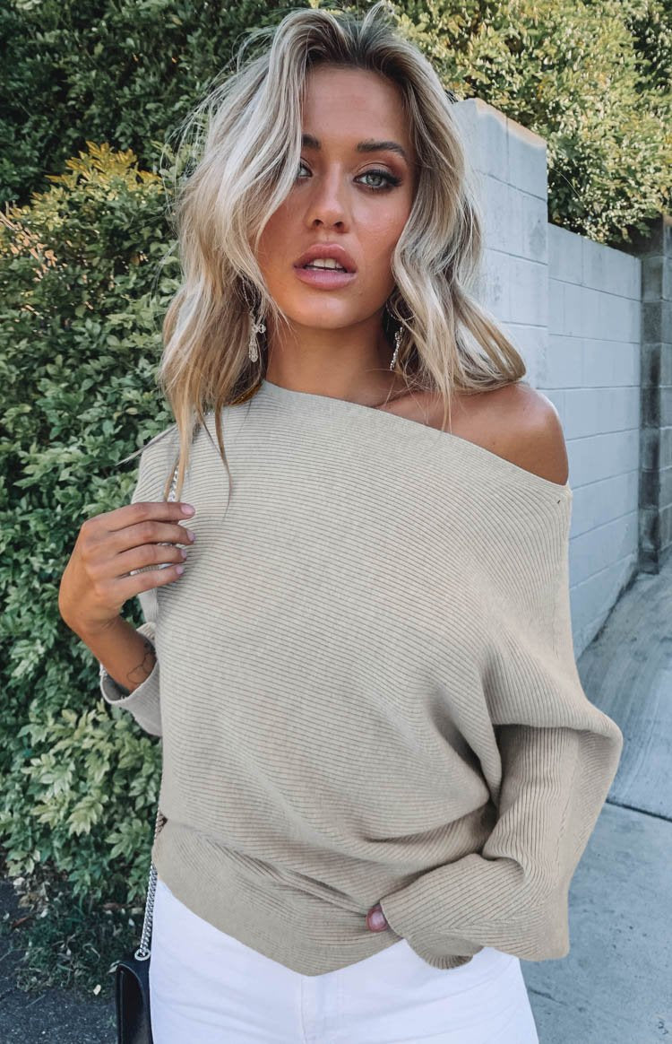 Alyce Off Shoulder Knit Beige