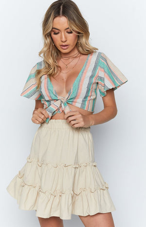 Isobel Crop Mint Stripe