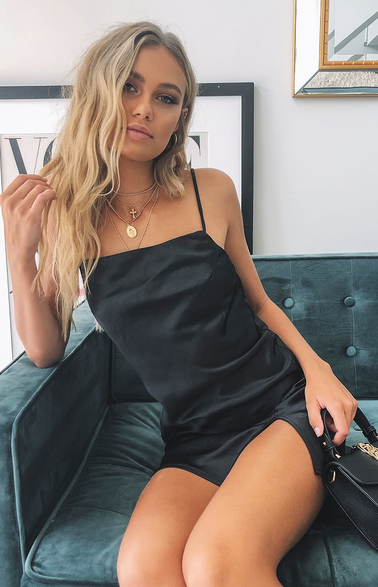 Jordyn Dress Black Satin