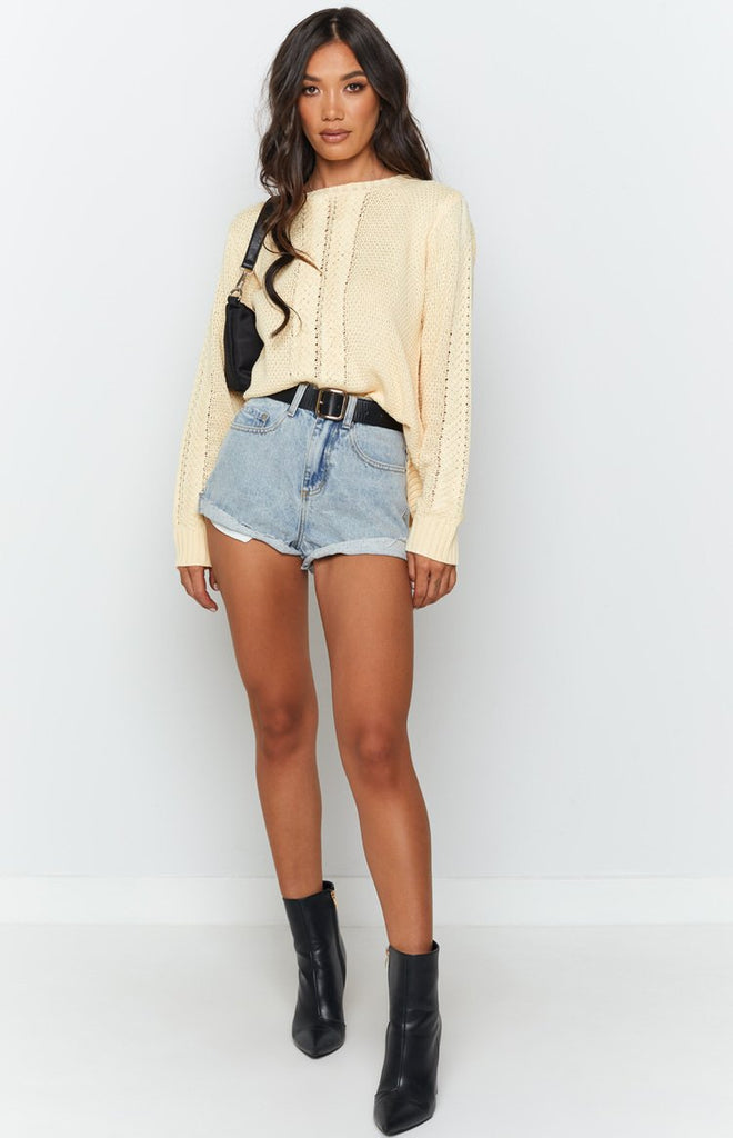 Key Locke Cable Knit Jumper Butter Yellow 4