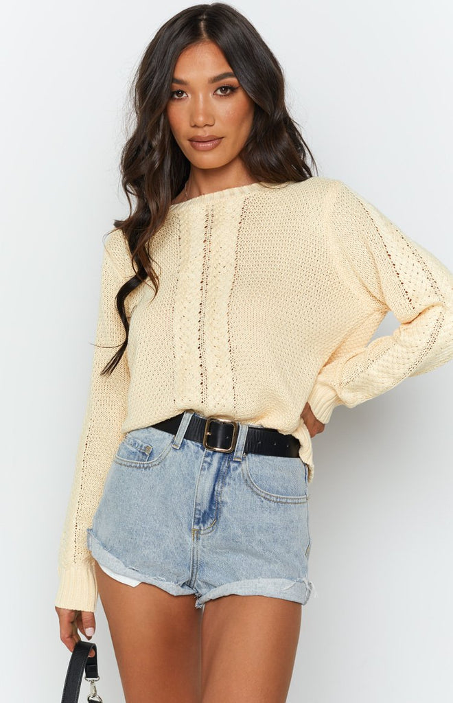 Key Locke Cable Knit Jumper Butter Yellow 5