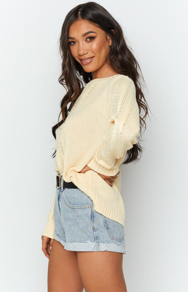 Key Locke Cable Knit Jumper Butter Yellow 6