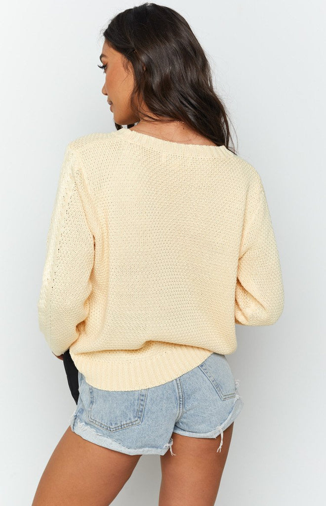 Key Locke Cable Knit Jumper Butter Yellow 7