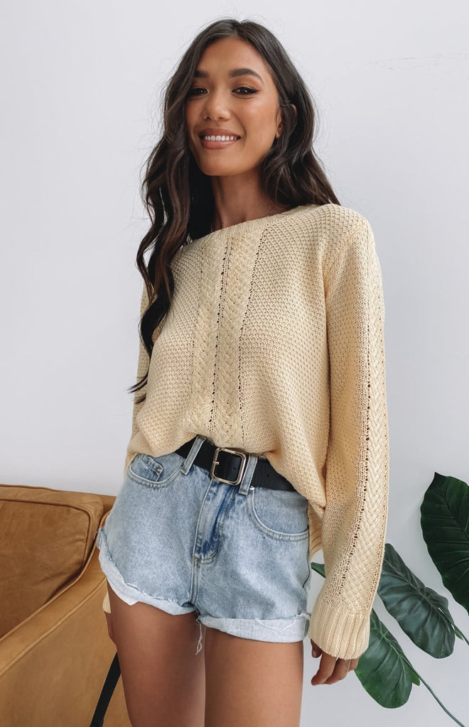 Key Locke Cable Knit Jumper Butter Yellow 3