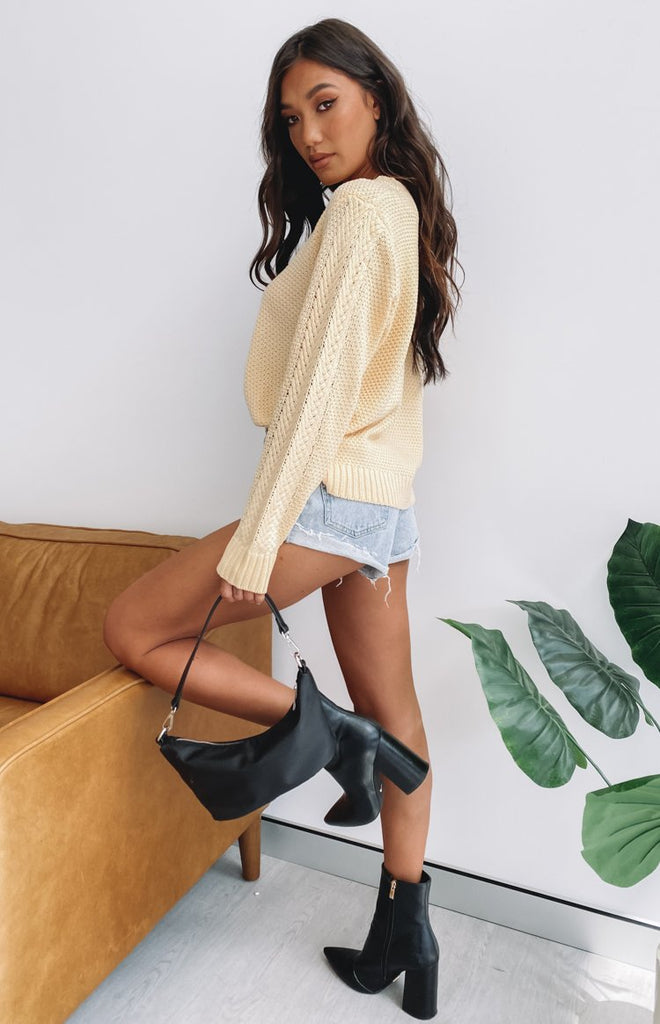 Key Locke Cable Knit Jumper Butter Yellow 9