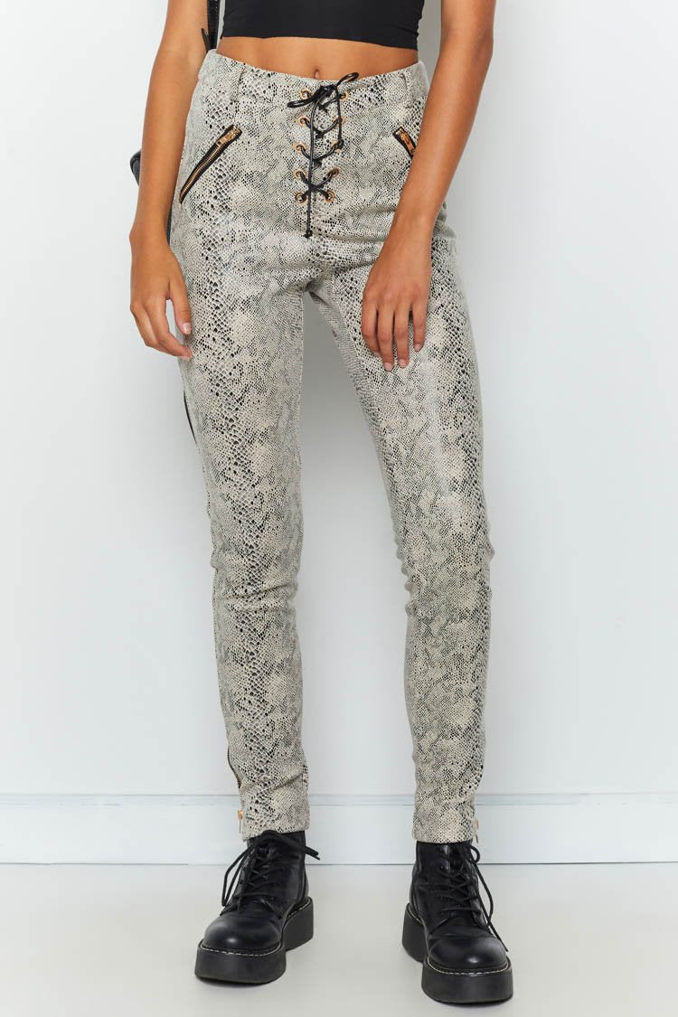 Lace Up Cobra Pants Snake Print