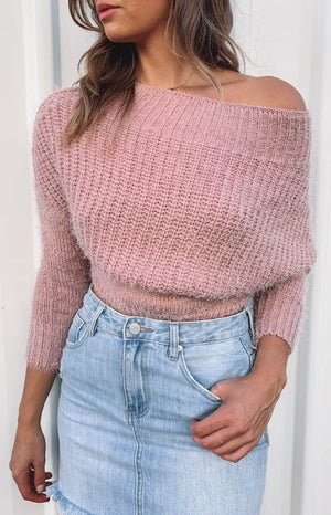 Lorissa Off Shoulder Knit Blush