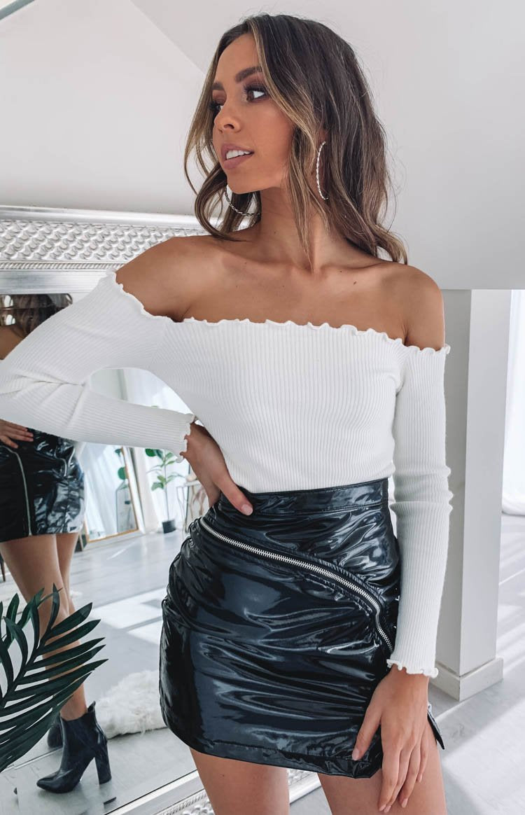 Lorraine Off Shoulder Knit White