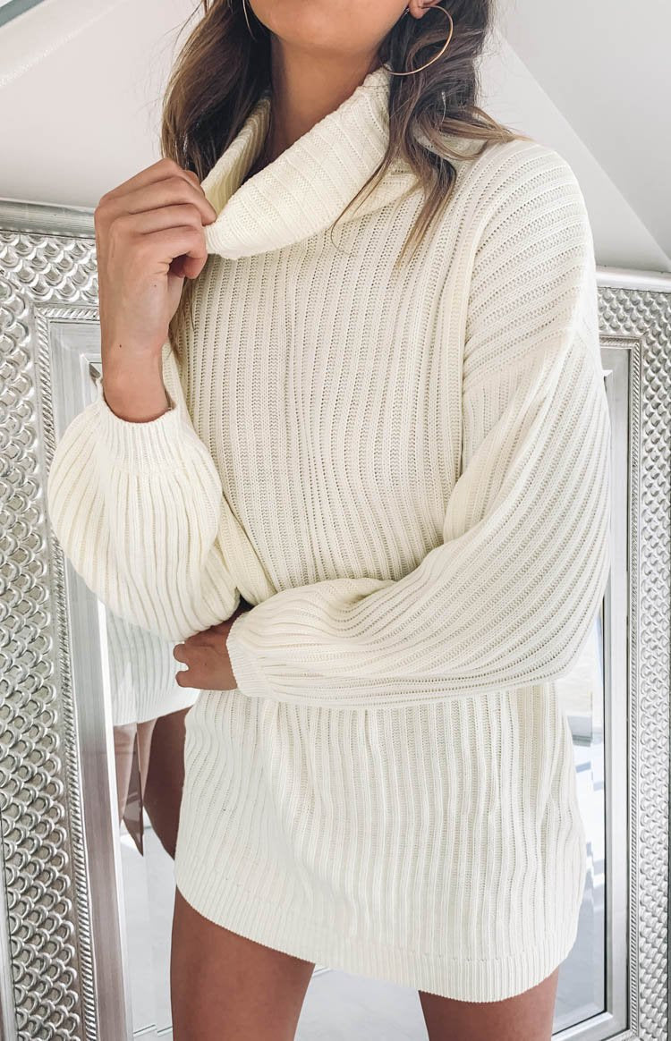 Lucilla Jumper Dress White