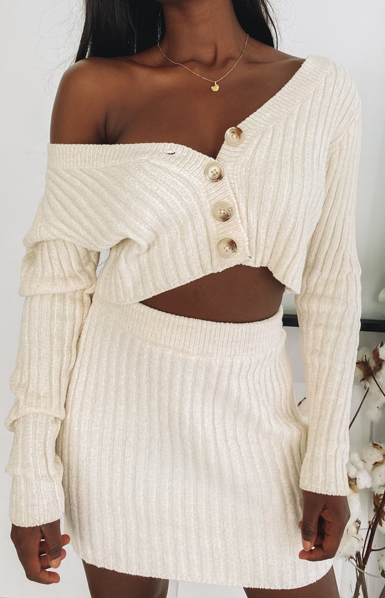 Lucy Ribbed Button Up Crop Beige