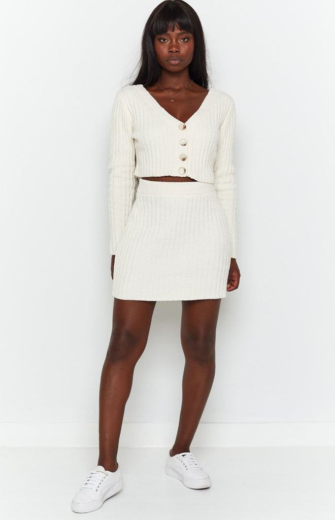 Lucy Ribbed Mini Skirt Beige 5