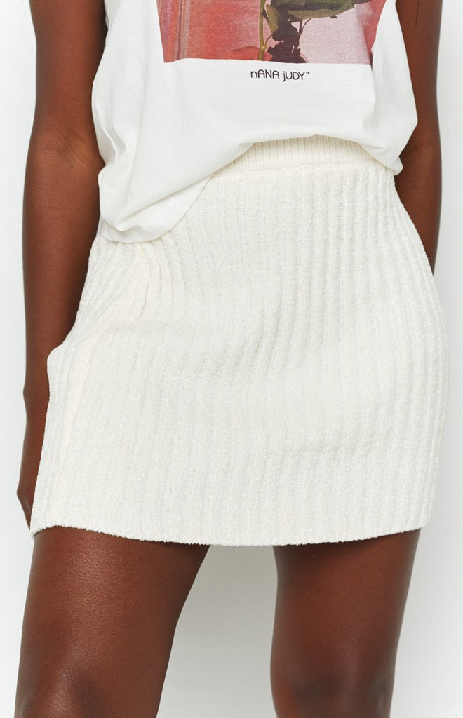 Lucy Ribbed Mini Skirt Beige 7