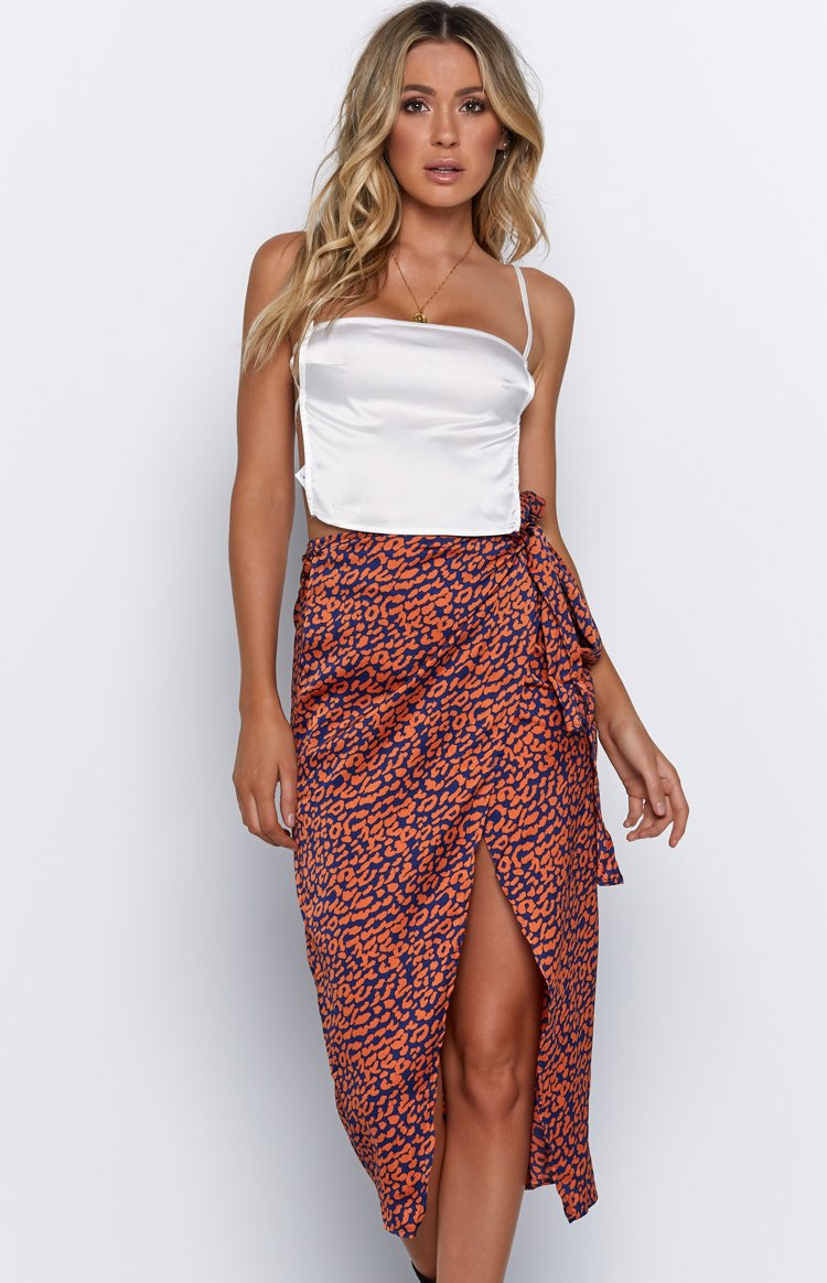 Lynette Skirt Orange Leopard