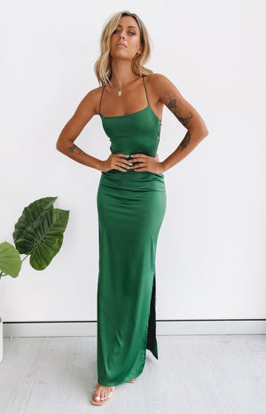 Manhattan Slip Formal Dress Emerald