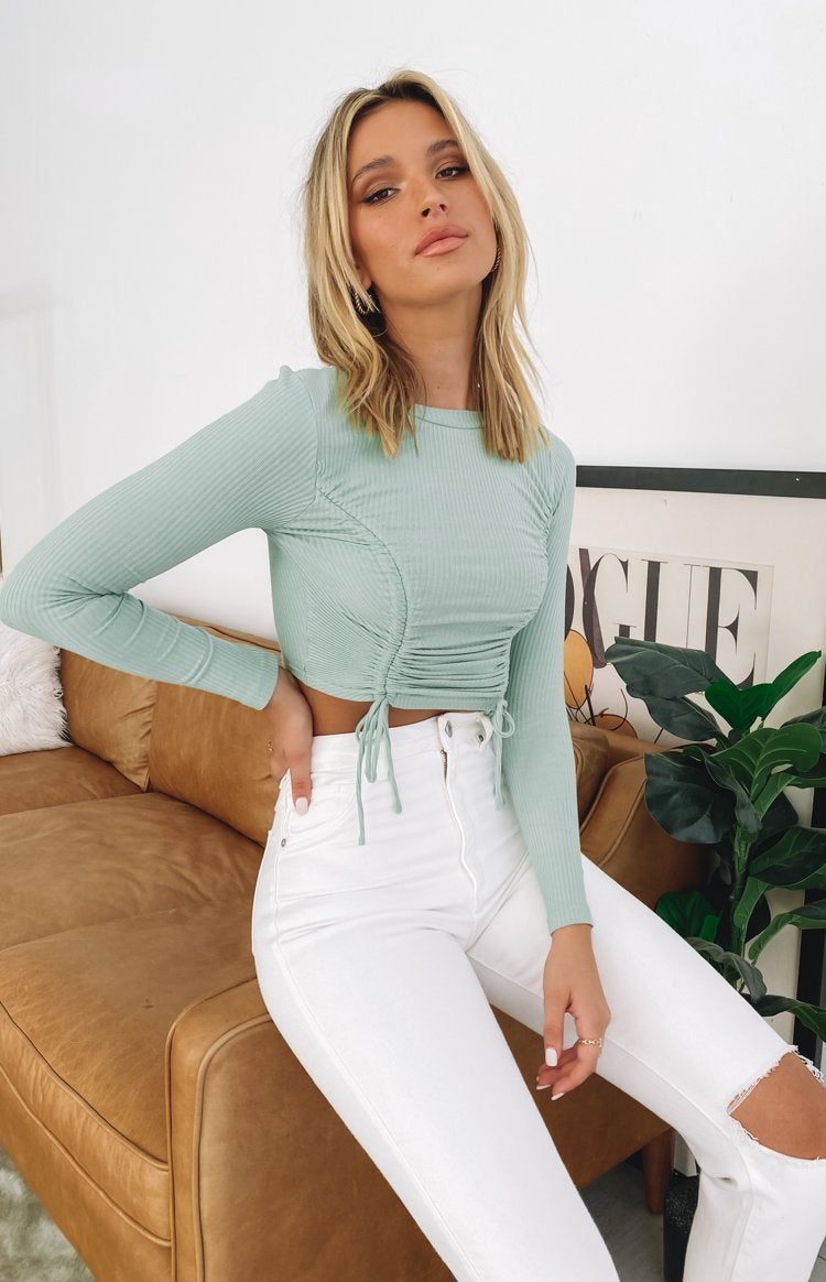 Maven Long Sleeve Ruched Top Sage