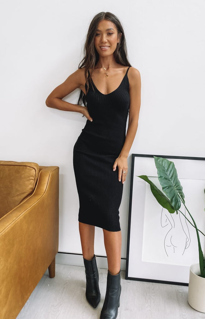 Monroe Bodycon Midi Dress Black 1