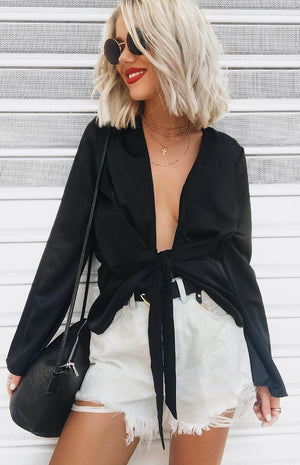 Boudoir Draped Blouse Black