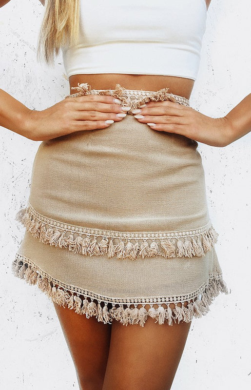 Walk Away Skirt Beige
