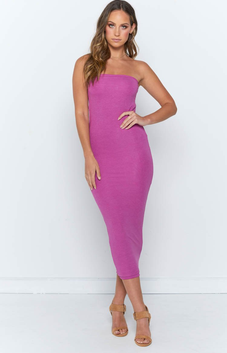 Nicki Strapless Dress Purple