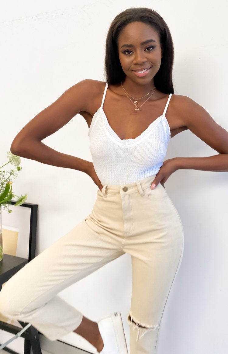 No Angel Waffle Crop Top White