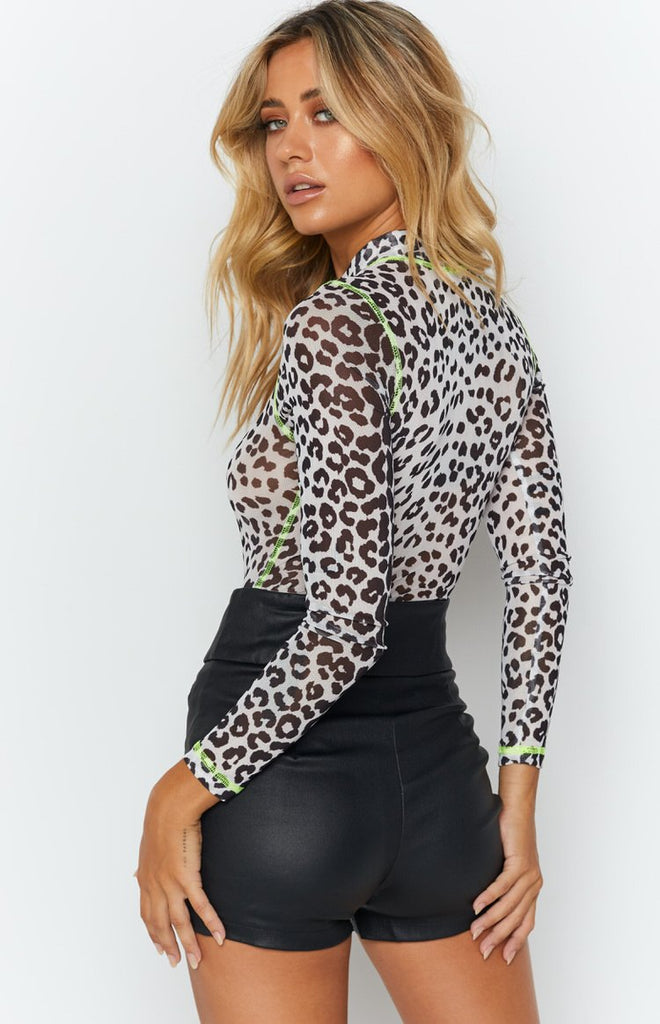 Not Lately Bodysuit Neon Green and Leopard 9