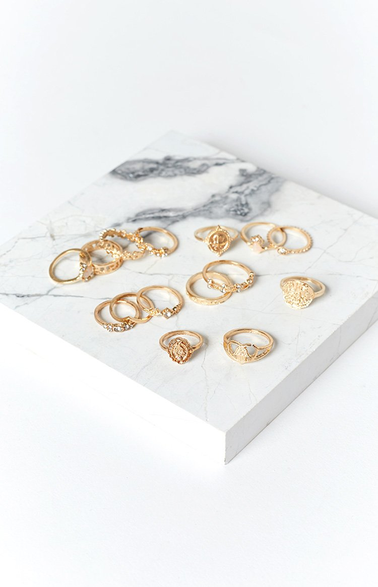 Eclat Own The Night Multi Piece Ring Set Gold