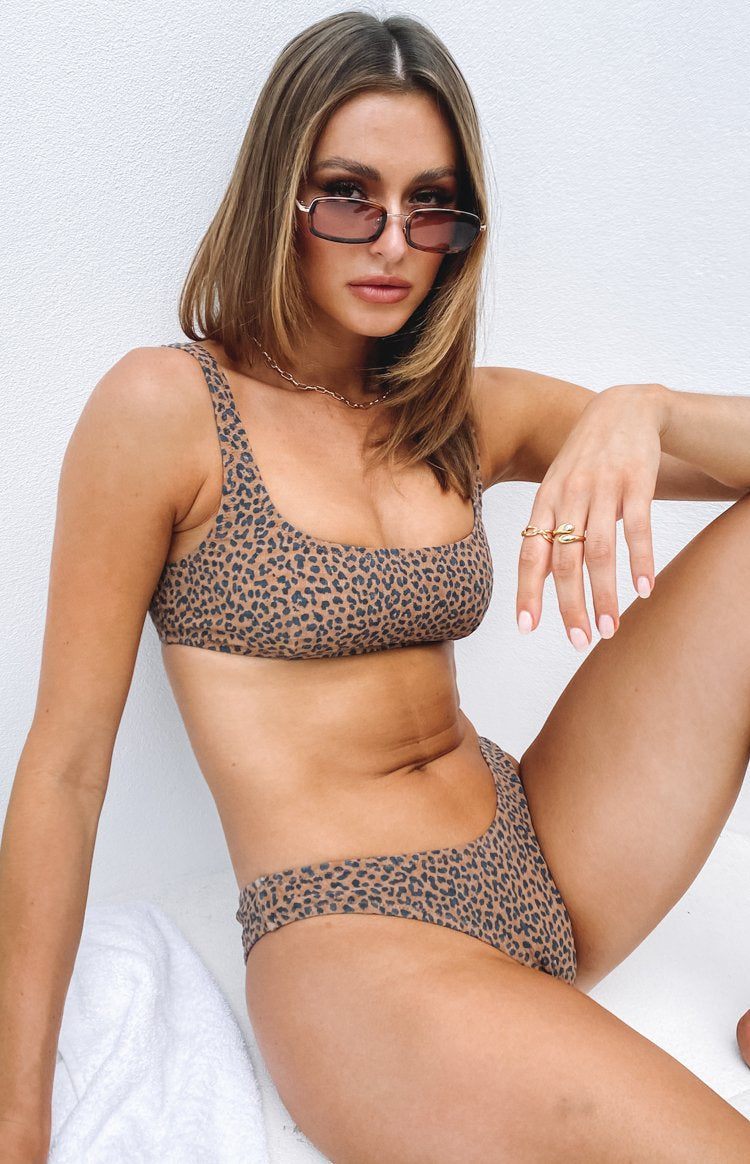 Thrills Panthera Square Crop Bikini Top Mustang Brown