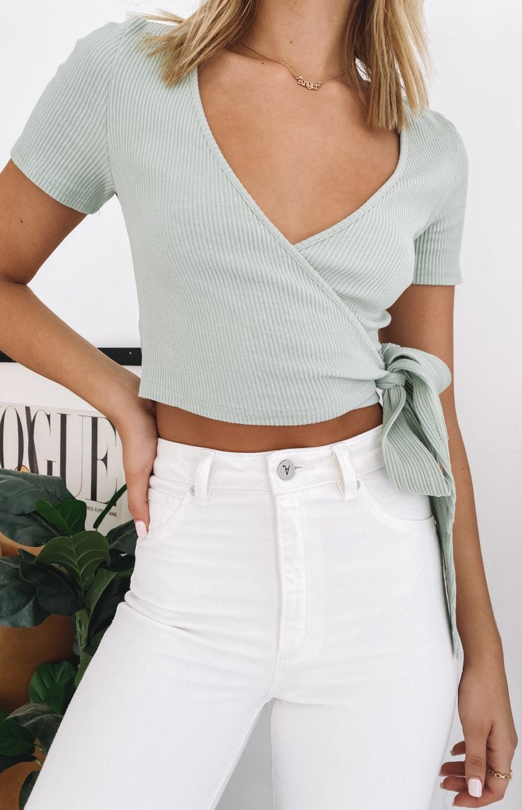 Pascal Wrap Top Green