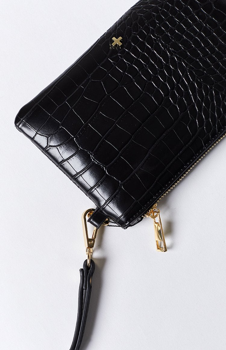 Peta & Jain Bella Clutch Black Croc