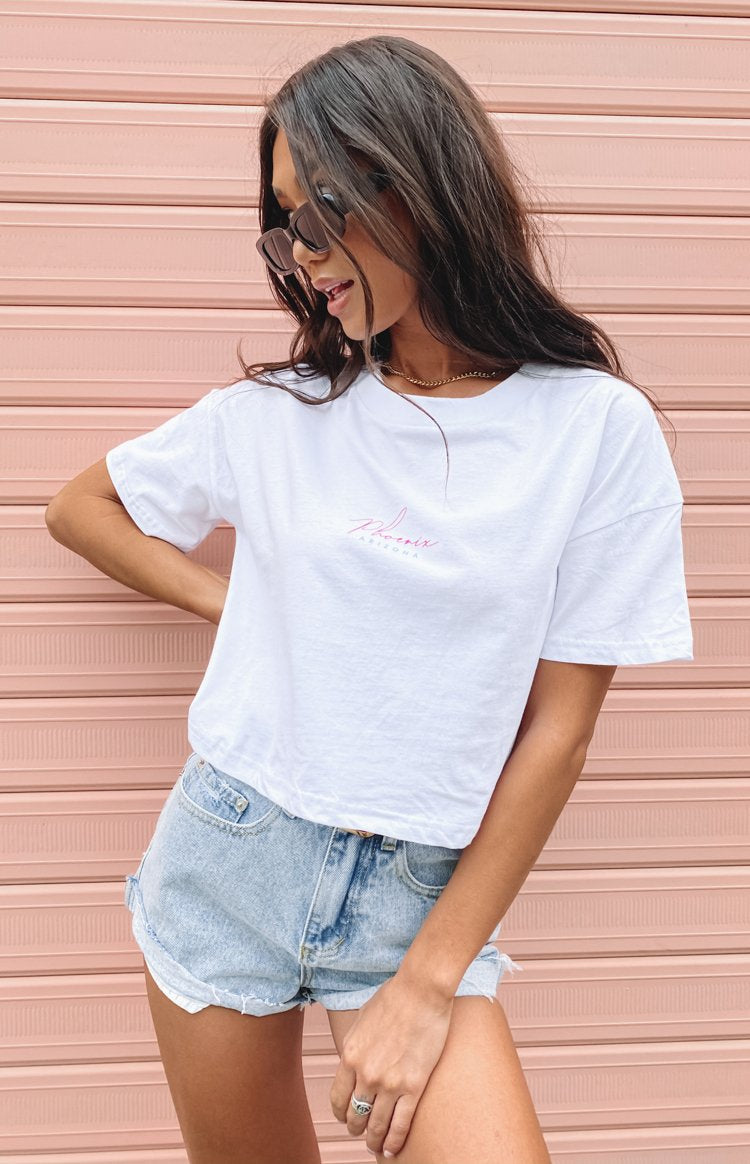 Phoenix Cropped Printed Tee White