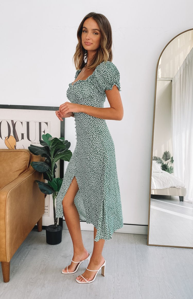 Plus One Midi Dress Green Floral