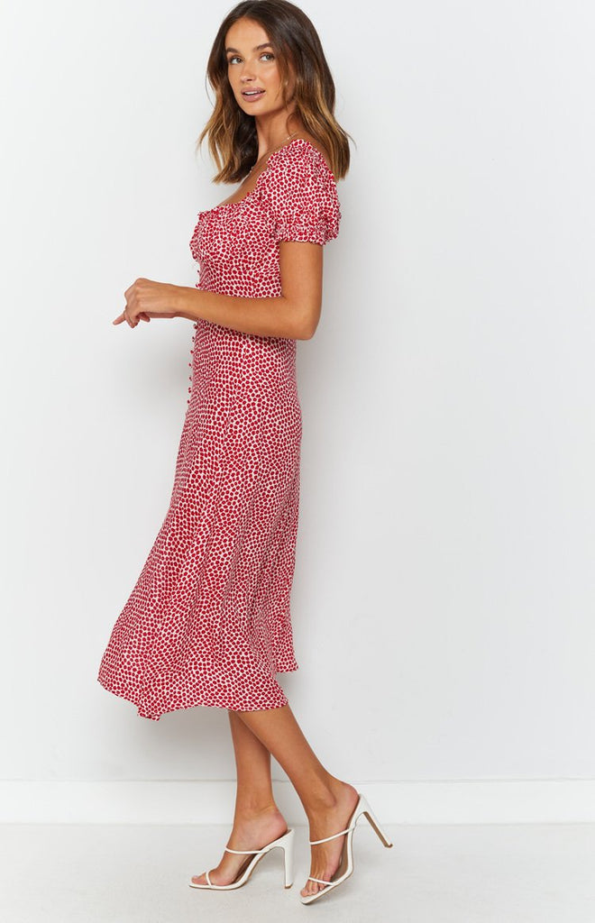 Plus One Midi Dress Red Print 6