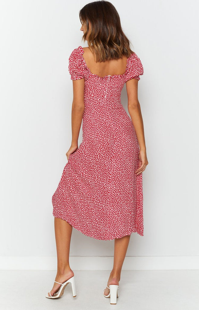 Plus One Midi Dress Red Print 7
