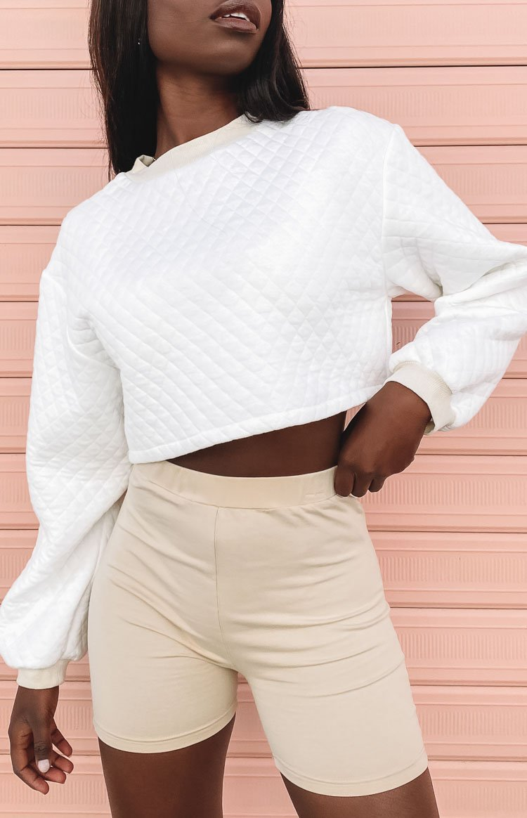 Quilted Crop Sweater White