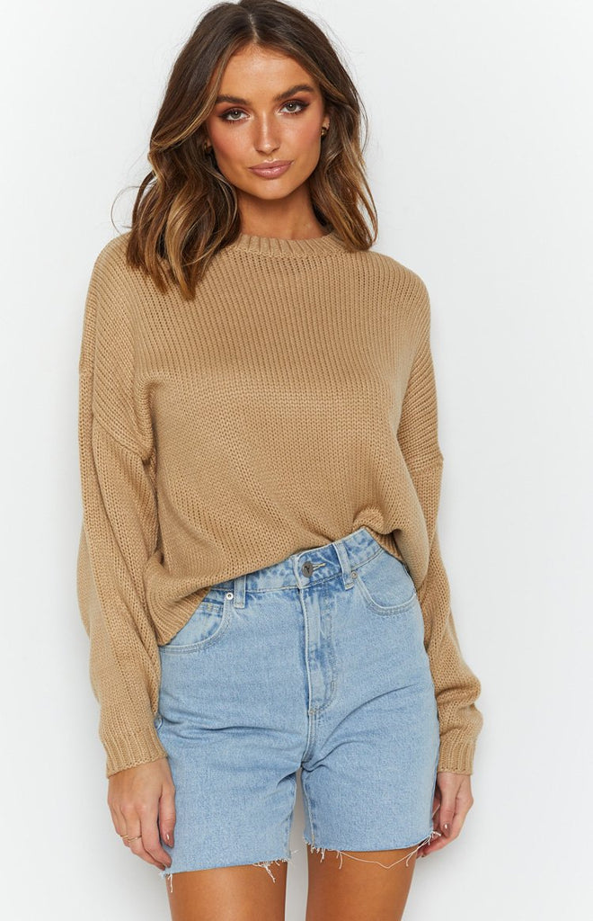 Recharge Knit Sweater Tan 6