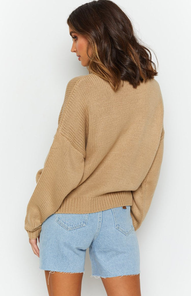 Recharge Knit Sweater Tan 8