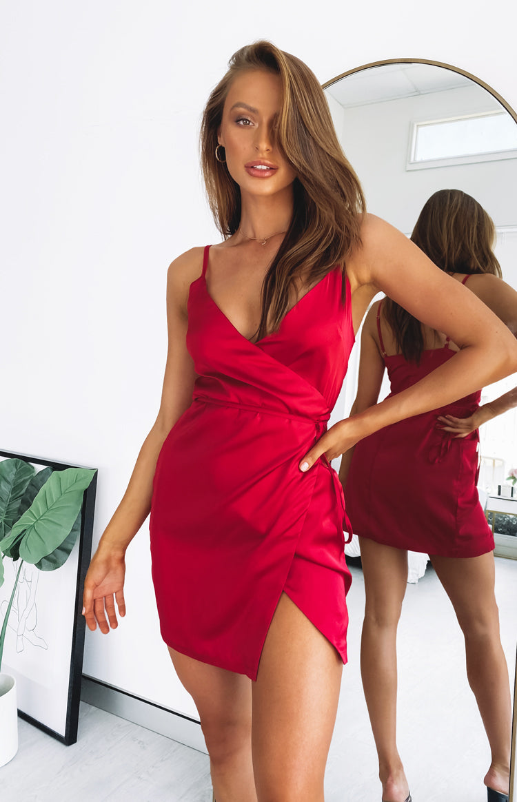 color-red Sasha Wrap Dress Red
