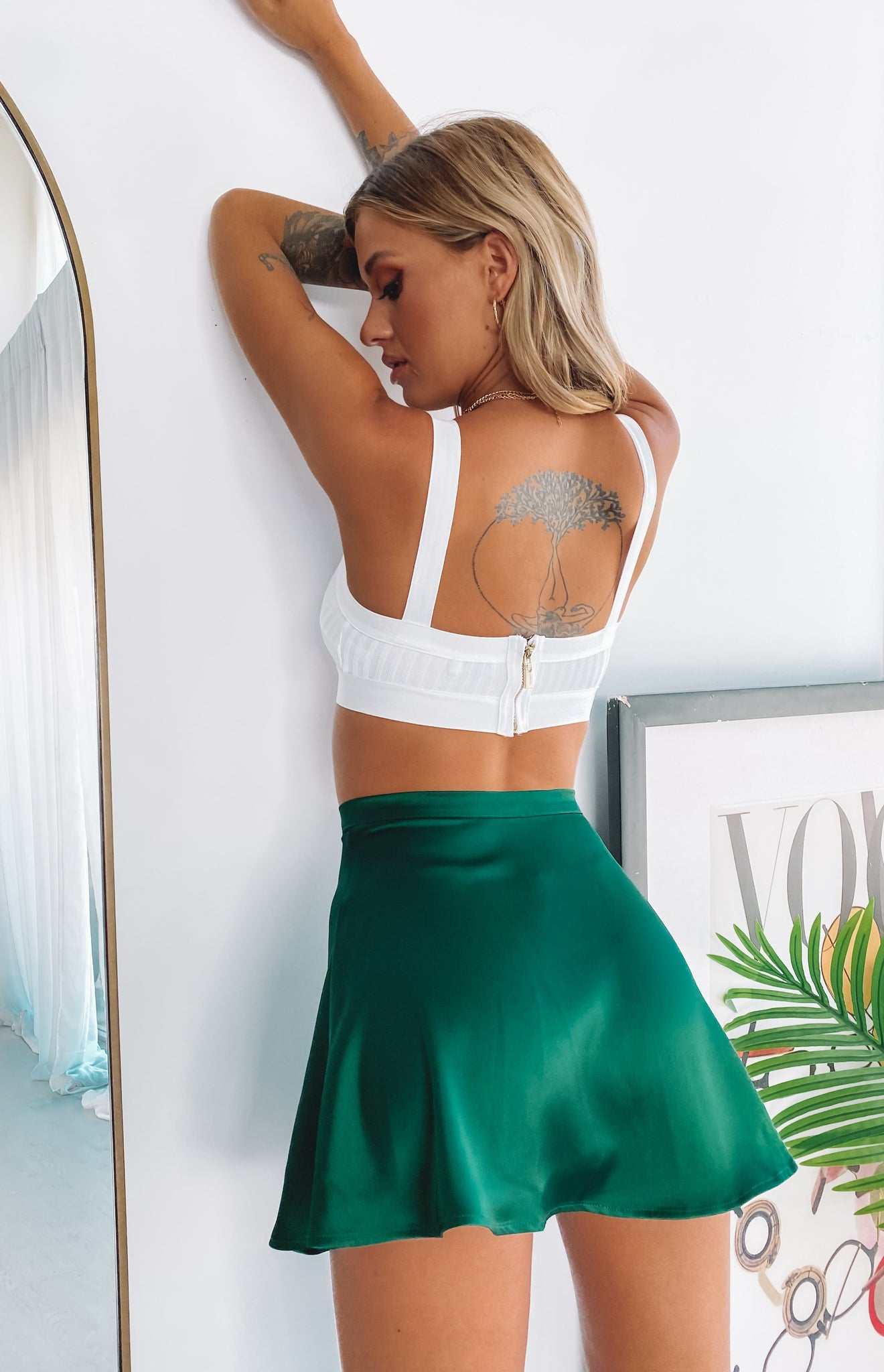 Sasha Flared Mini Skirt Emerald
