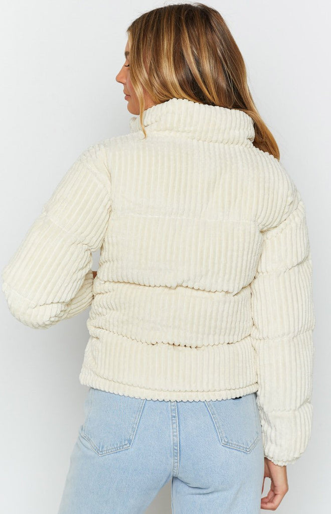 Say Something Cord Puffer Jacket Cream 8