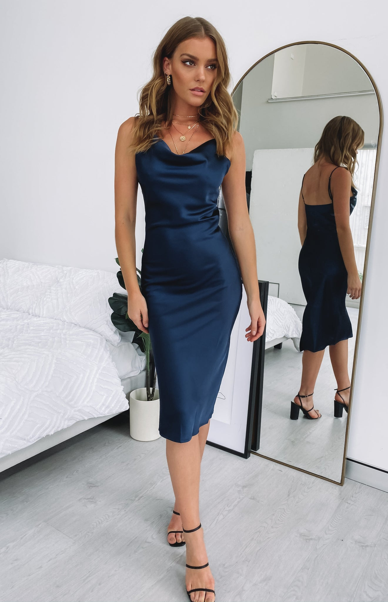 Schiffer Slip Midi Dress Midnight