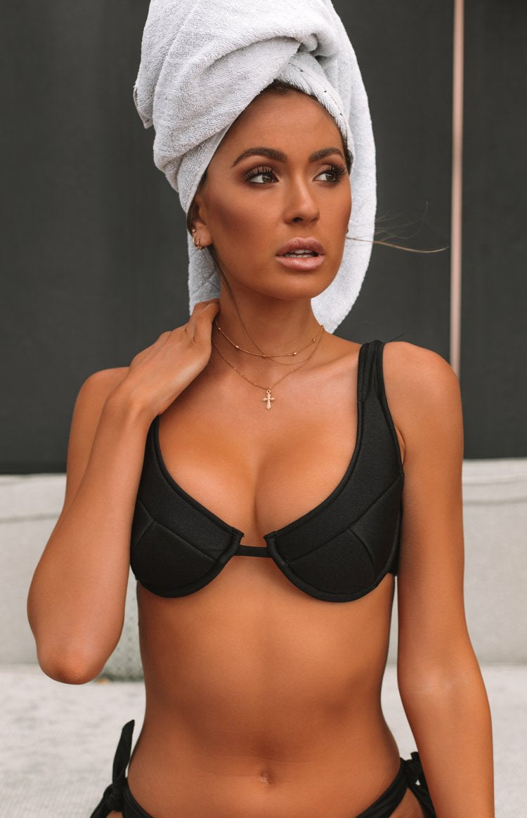 9.0 Swim Serena Underwire Bikini Top Metallic Black